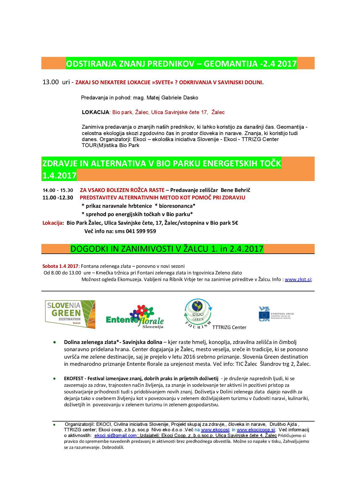 EKOFEST APRIL - v Savinjski dolini - VABILO - Festival izmenjave znanj, dobrih praks in prijetnih doživetij 1 in 2.4. 2017-1-page-002