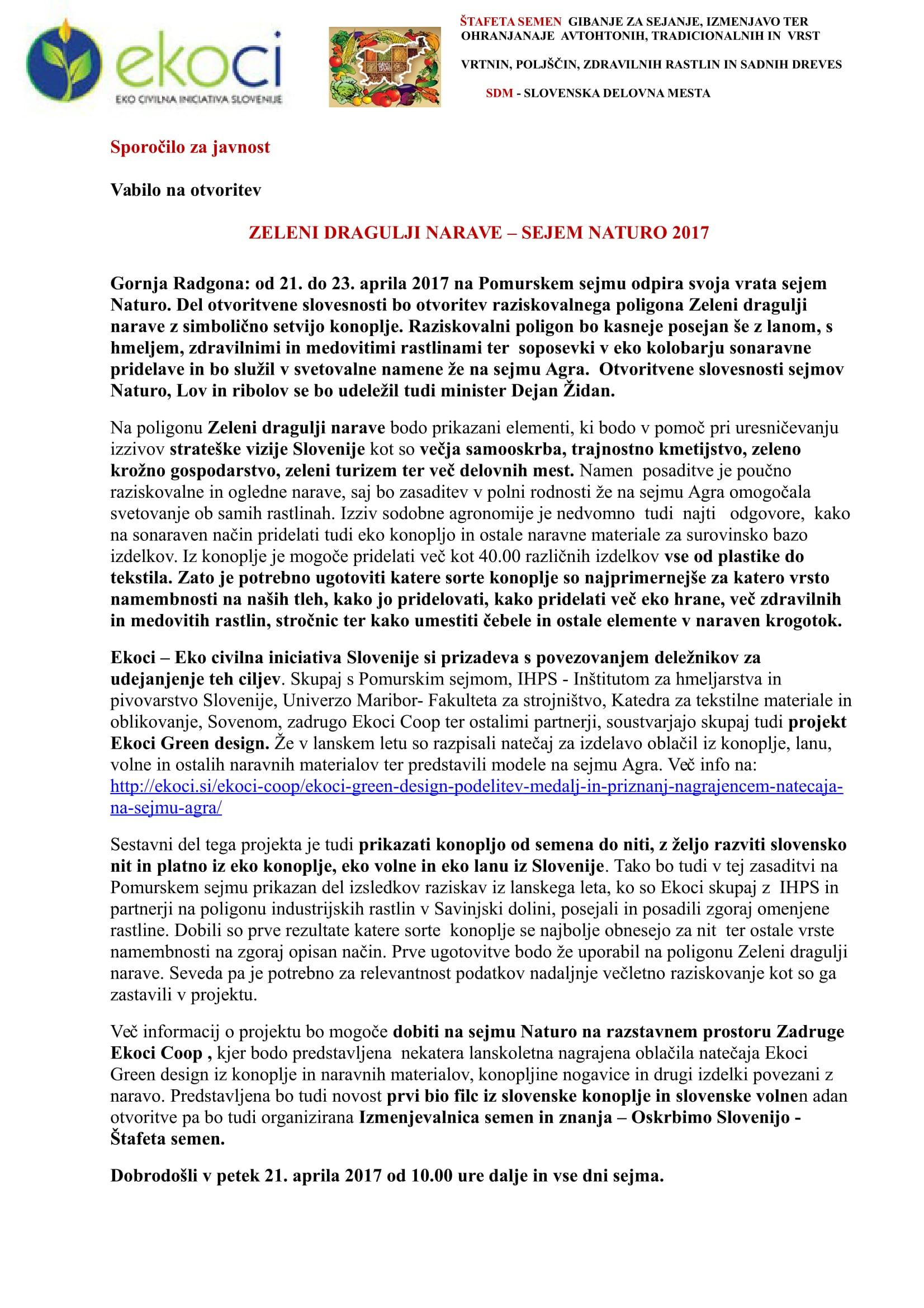 SZJ - VABILO - ZELENI DRAGULJI NARAVE - OTVORITEV - SEJEM NATURO 21.4. 2017-1