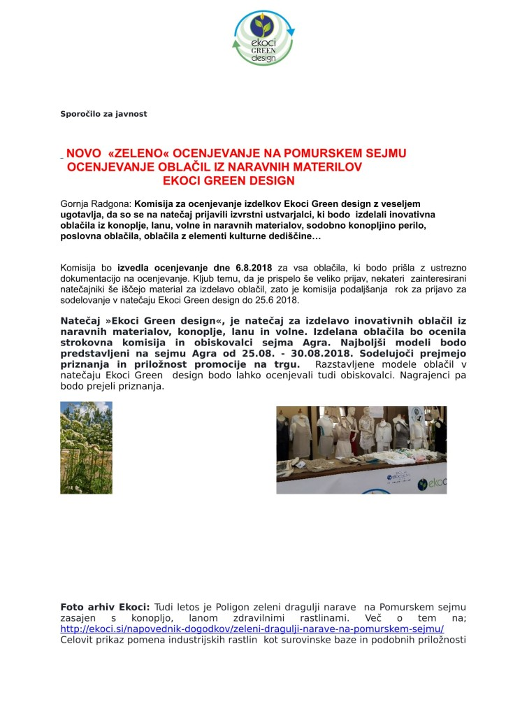 SZJ -NOVO ZELENO OCENJEVANJE NA SEJMU AGRA EKOCI Green design-1