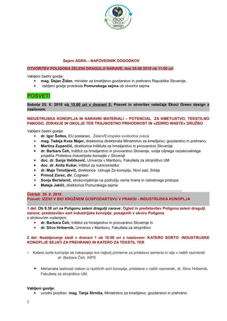 SZJ - BIO KROŽNO GOSPODARSTVO ZELENI DRAGULJI NARAVE -NATEČAJ - NAPOVEDNIK DOGODKOV AGRA-2