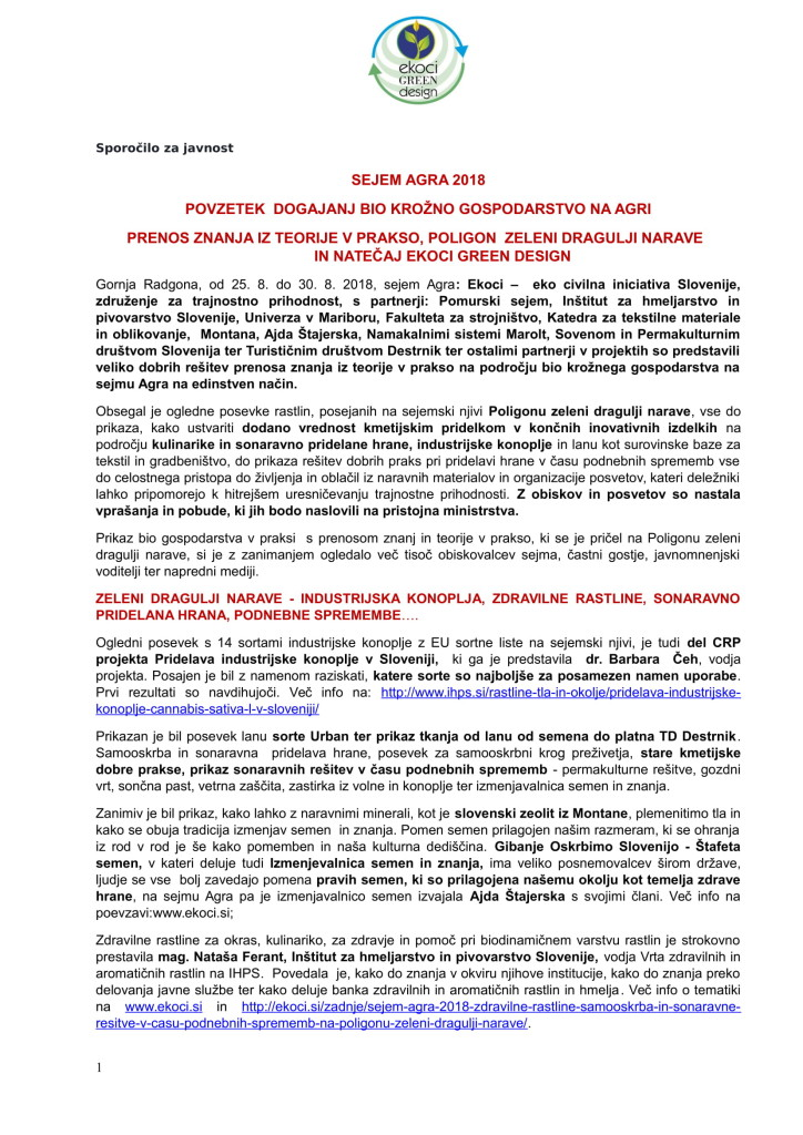 POVZETEK DOGAJANJ NA AGRI - BIO KROŽNO GOSPODARSTVO V PRAKSI or.-01