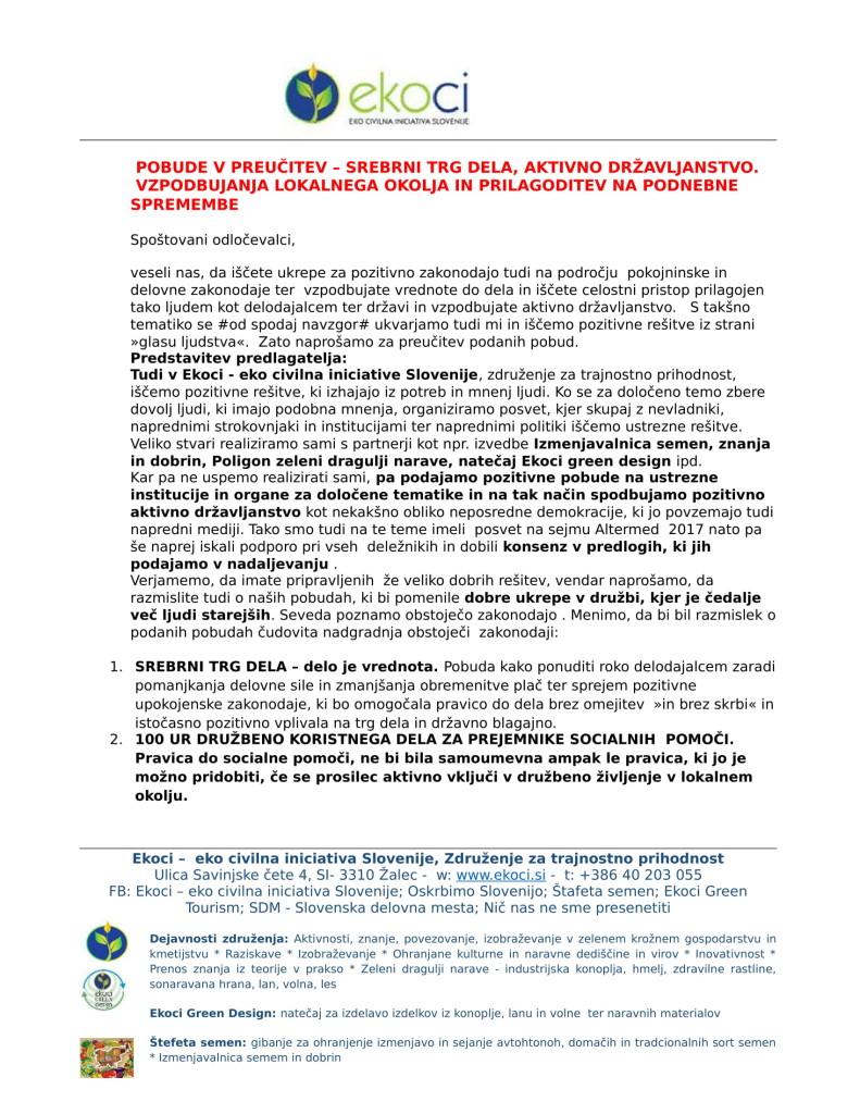 Ekoci - Pobude v preučitev - Srebrni trg dela - aktivno državljanstvo - loklano okolje - podnebne spremembe-1