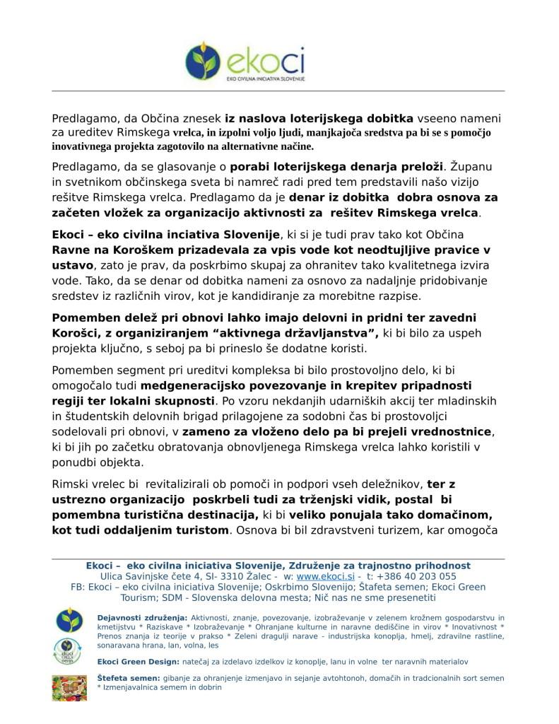 Občina Ravne - Pobuda za ponoven razmislek o porabi sredstev in loterijskega dobitka or. (1)-2