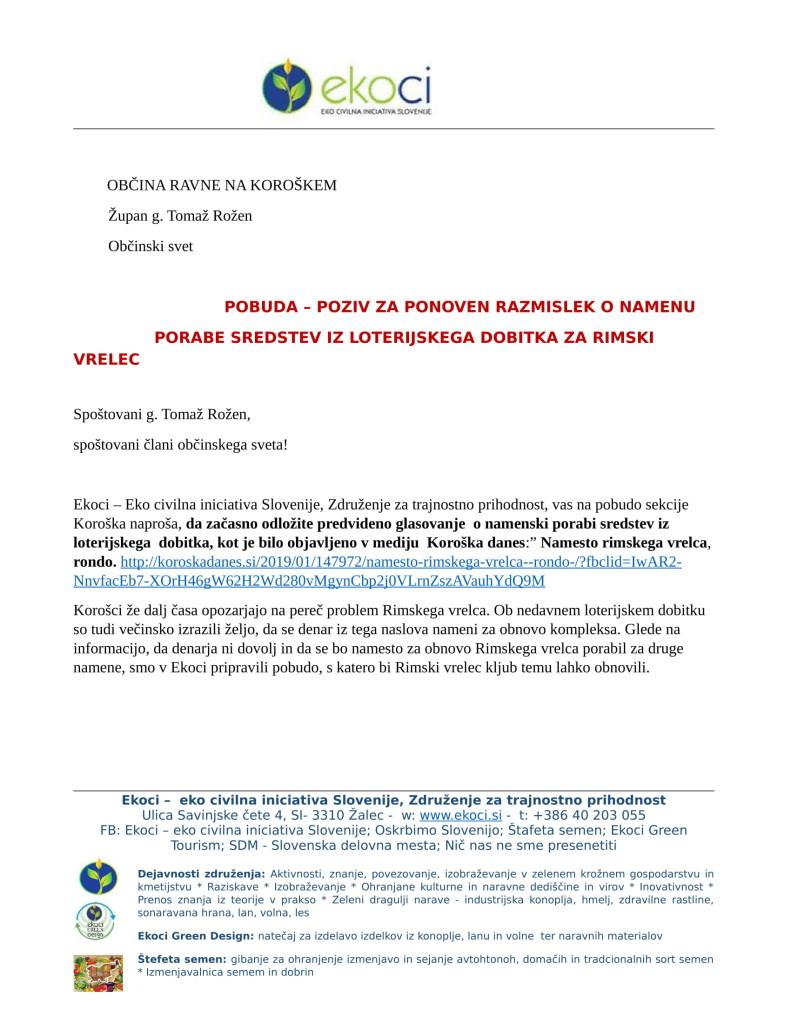 Občina Ravne - Pobuda za ponoven razmislek o porabi sredstev in loterijskega dobitka or. (1)-1